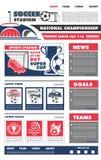 Diseño de la página del aterrizaje del juego de fútbol del fútbol del vector Fotos de archivo libres de regalías