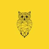 Diseño de la papiroflexia del búho Vector negro del color con el fondo amarillo Foto de archivo libre de regalías