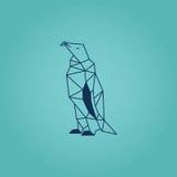 Diseño de la papiroflexia del pingüino Vector azul del color con el fondo de la pendiente del turquaze Fotos de archivo