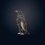 Diseño de la papiroflexia del pingüino Vector del efecto del oro con el fondo oscuro Imagen de archivo libre de regalías