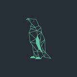 Diseño de la papiroflexia del pingüino Vector verde claro del color con el fondo oscuro Foto de archivo