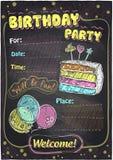 Diseño de la pizarra de la fiesta de cumpleaños stock de ilustración
