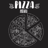 Diseño de la pizza sobre fondo negro Fotografía de archivo libre de regalías