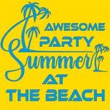 Diseño de la plantilla, de la bandera o del aviador del partido de la playa del verano con el ejemplo de palmeras ilustración del vector