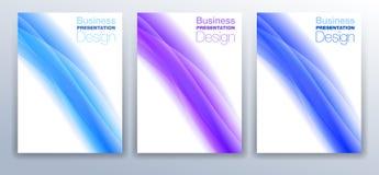 Diseño de la plantilla de la cubierta del folleto en azul y púrpura Imagenes de archivo