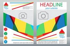 Diseño de la plantilla de folletos con el lugar para su foto Una muestra Foto de archivo