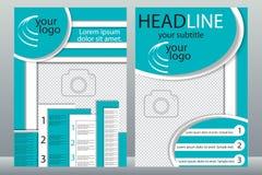 Diseño de la plantilla de folletos con el lugar para su foto Una muestra Imagen de archivo