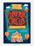 Diseño de la plantilla, de la bandera o del aviador del circo del Funfair ilustración del vector