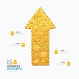 Diseño de la plantilla de la forma de la flecha de las monedas del negocio de Infographic éxito Fotos de archivo libres de regalías
