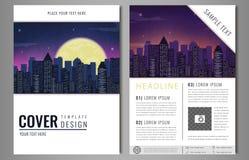 Diseño de la plantilla del aviador del folleto del prospecto con paisaje urbano Diseño de la disposición de la cubierta de libro, libre illustration