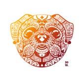Diseño de la plantilla del barro amasado de la cabeza de la tribu ilustración del vector
