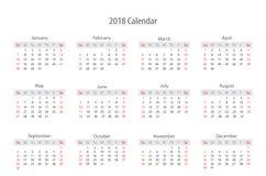 Diseño 2018 de la plantilla del calendario Fotos de archivo libres de regalías
