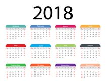 Diseño 2018 de la plantilla del calendario Foto de archivo libre de regalías