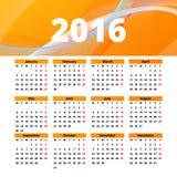 Diseño 2016 de la plantilla del calendario con la imagen del jefe Fotos de archivo