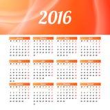 Diseño 2016 de la plantilla del calendario con la imagen del jefe Imagen de archivo