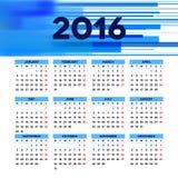Diseño 2016 de la plantilla del calendario con la imagen del jefe Imagen de archivo libre de regalías