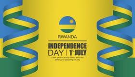 Diseño de la plantilla del Día de la Independencia de Rwanda stock de ilustración