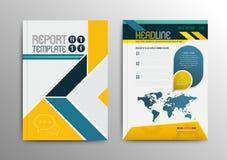 Diseño de la plantilla del folleto del vector con el mapa del mundo Fotos de archivo