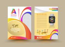 Diseño de la plantilla del folleto del vector con el reloj elegante stock de ilustración