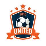 Diseño de la plantilla del logotipo de la insignia del fútbol, equipo de fútbol, illuatrat del vector Fotografía de archivo