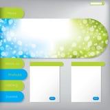 Diseño de la plantilla del Web site con opciones del producto Fotos de archivo
