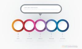 Diseño de la plantilla de la etiqueta del círculo de Infographic 3d del vector Infograph con 5 opciones o pasos del número stock de ilustración