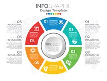 Diseño de la plantilla de Infographic con 6 opciones del color stock de ilustración