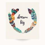 Diseño de la postal con cita inspirada y las plumas coloridas bohemias Imagen de archivo libre de regalías