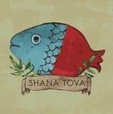 Diseño de la postal de Shana Tova para Rosh Hashana Fotografía de archivo libre de regalías