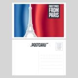 Diseño de la postal del vector de Francia, París con la torre Eiffel stock de ilustración