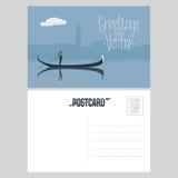 Diseño de la postal del vector de Italia, Venecia con la góndola libre illustration