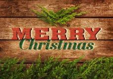 Diseño de la postal o del cartel del vintage de la Feliz Navidad Foto de archivo