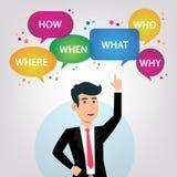 Diseño de la pregunta en burbujas del discurso con el hombre de negocios stock de ilustración