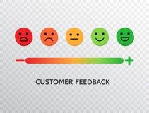 Diseño de la reacción con el fondo de la escala de las emociones Concepto de clasificación de la satisfacción Fije de iconos de l libre illustration