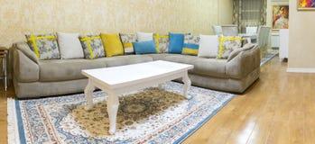 Diseño de la sala de estar con el sofá y la alfombra Fotografía de archivo