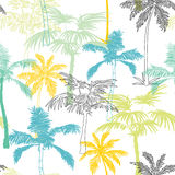 Diseño de la superficie de California Grey Blue Yellow Seamless Pattern de las palmeras del vector con exótico, decorativo, plant Imagenes de archivo