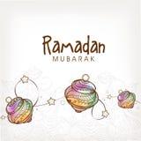 Diseño de la tarjeta de felicitación con las linternas para Ramadan Kareem Foto de archivo