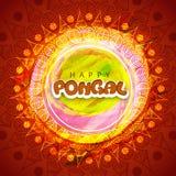 Diseño de la tarjeta de felicitación de la celebración de Pongal Imagen de archivo libre de regalías