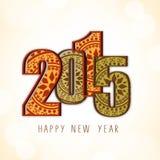 Diseño 2015 de la tarjeta de felicitación de la celebración del Año Nuevo Imagen de archivo libre de regalías