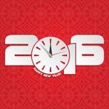 Diseño 2016 de la tarjeta de felicitación de la Feliz Año Nuevo Imagenes de archivo