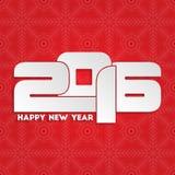 Diseño 2016 de la tarjeta de felicitación de la Feliz Año Nuevo Foto de archivo