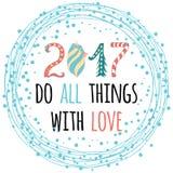 diseño de la tarjeta de felicitación de la Feliz Año Nuevo 2017 con cita Imagenes de archivo