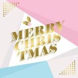Diseño de la tarjeta de felicitación de la Feliz Navidad del oro Fotos de archivo
