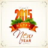 Diseño de la tarjeta de felicitación de las celebraciones de la Feliz Año Nuevo 2015 Foto de archivo libre de regalías