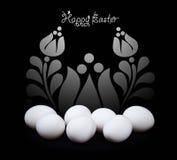 Diseño de la tarjeta de felicitación de Pascua en blanco y negro Fotografía de archivo libre de regalías