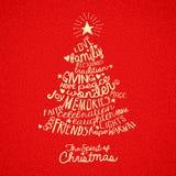 Diseño de la tarjeta de felicitación del árbol de navidad stock de ilustración