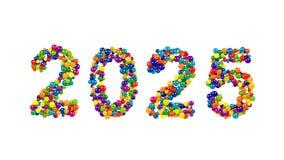 Diseño de la tarjeta de felicitación del Año Nuevo 2025 Imágenes de archivo libres de regalías