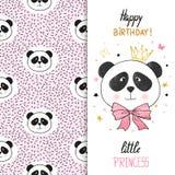 Diseño de la tarjeta de felicitación del cumpleaños con la panda linda para la niña Foto de archivo libre de regalías