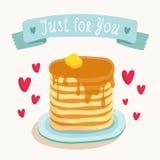 Diseño de la tarjeta de felicitación del día de tarjeta del día de San Valentín con el desayuno romántico Foto de archivo libre de regalías