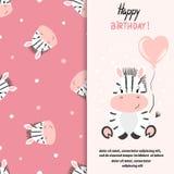 Diseño de la tarjeta de felicitación del feliz cumpleaños con la pequeña cebra linda Imagenes de archivo